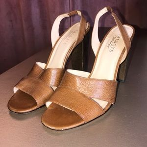 Talbots cognac leather stacked heel sandals